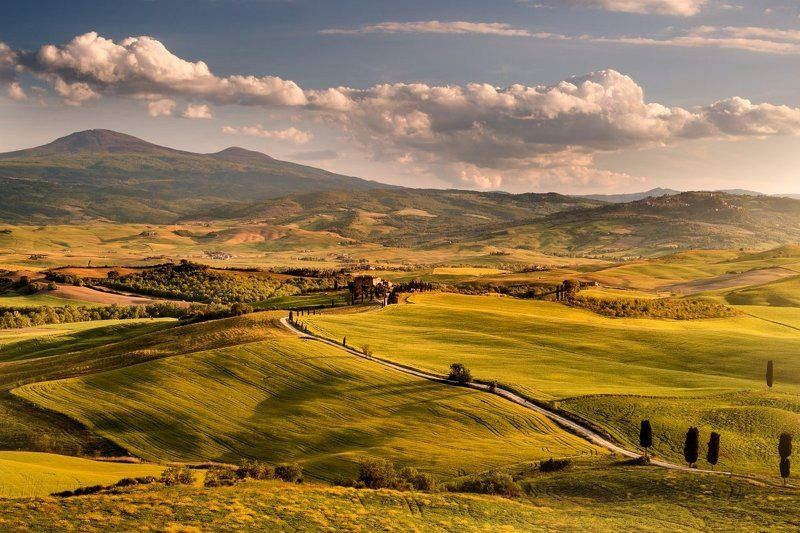 Italy, Tuscany, Pienza, San Quirico d´Orcia, meadows, cypres, clouds, sun, spring, sunset Tuscany springphoto preview