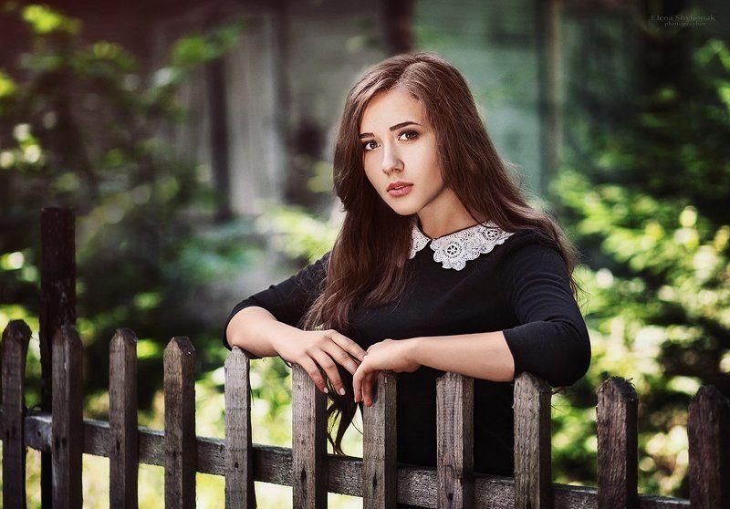 девушка, черное платье, деревня, ретро, винтаж, лето, портрет ***photo preview