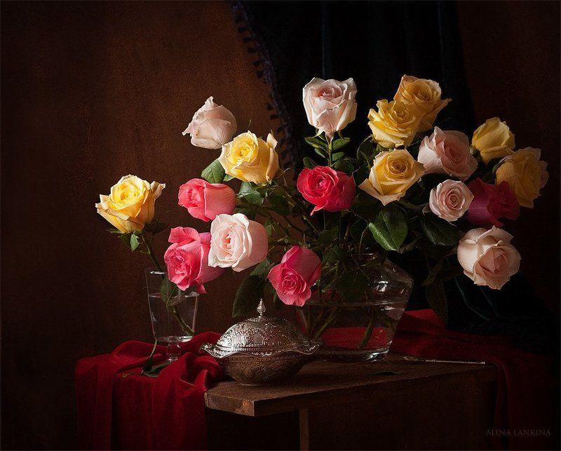 букет, натюрморт, розы, свет, цветы ***photo preview