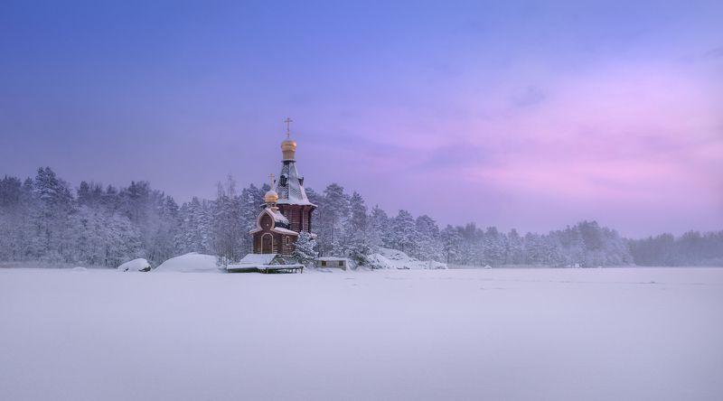 Зима, рассвет, снег, холод, небо, церковь,Храм Андрея Первозванного на Вуоксе Церковь холодного рассветаphoto preview