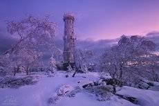 Winter tower before sunrise