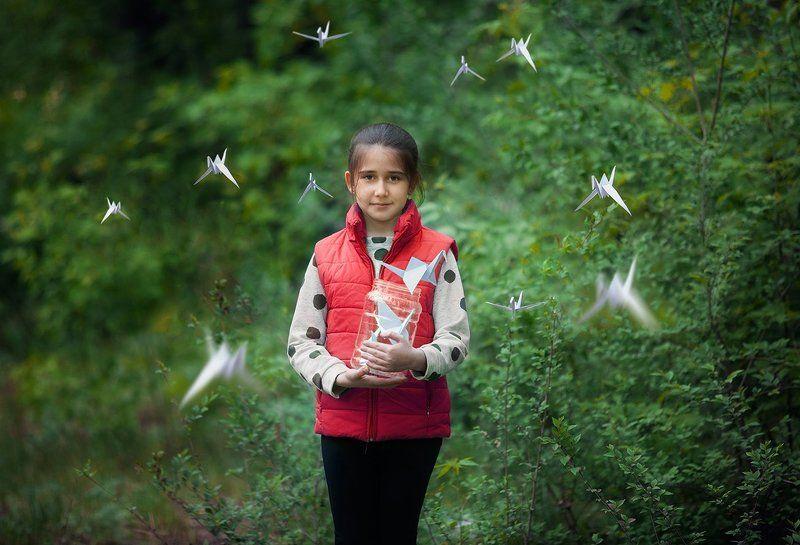 журавли,портрет,улица,весна,птицы,дети,семья,девочка Журавлиphoto preview