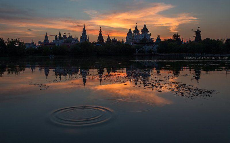 вечер, закат, измайлово, кремль, москва, пруд И прилетел Драконphoto preview