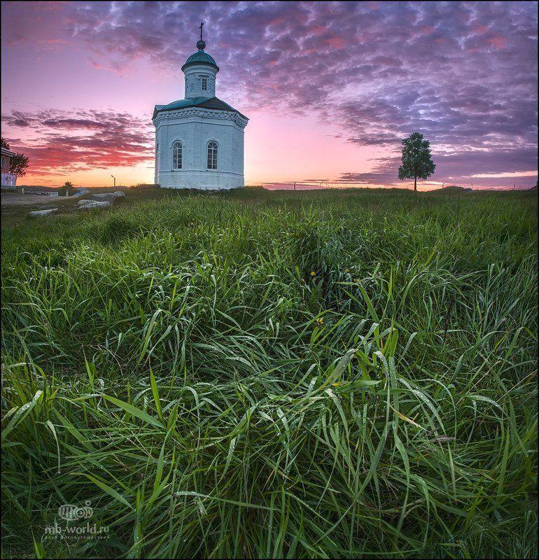 Россия, Соловки, пейзаж, закат, белые ночи Часовня Большого Соловецкого острова...photo preview