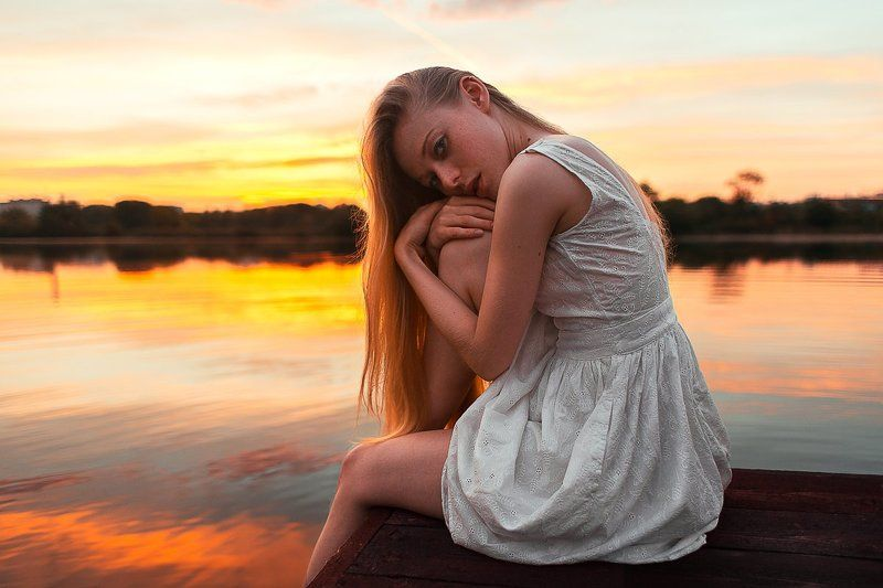 Beach, Dress, Girl, Hair, Sea, Sun, Sunrise, Девушка на рассветеphoto preview