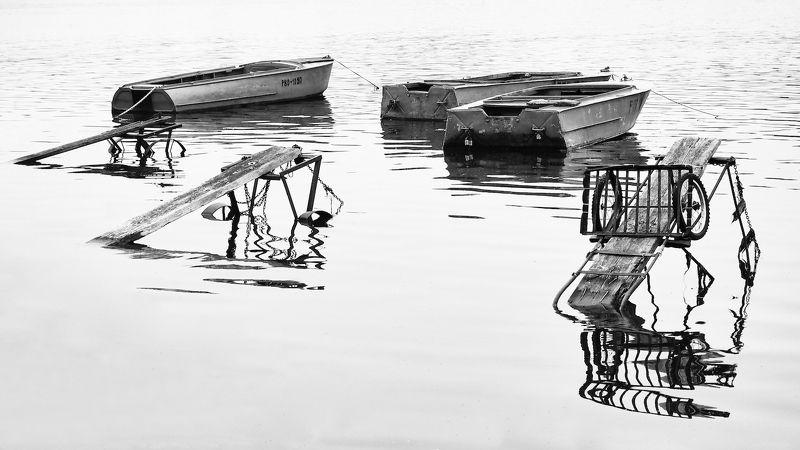 Графика, Лодки, Монохром, Причалы, Река волга photo preview