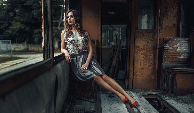 Cinematic, Color, Mood, Portrait, Woman In a tramphoto preview
