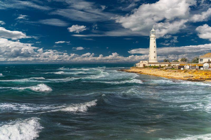 Крым, Лето, Маяк, Море, Облака, Тарханкут Свежий ветерphoto preview