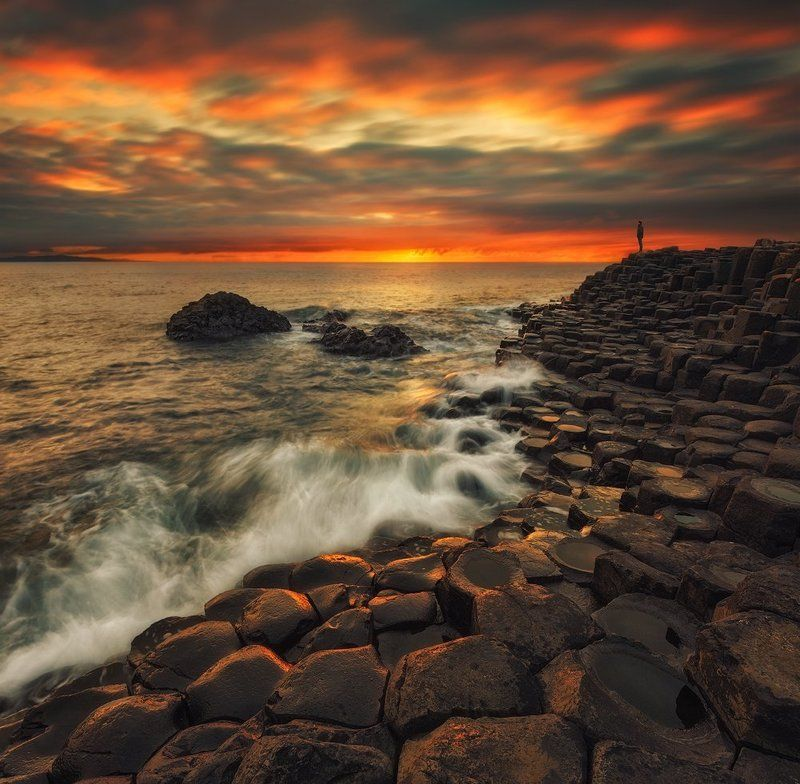northern_ireland, giants_causeway, sunset, panorama, nd, long_exposure, fine_art, travel, antrim, color, light, basalt_columns, coastline, waterscape, seascape, landscape, adventure Basaltic Sunsetphoto preview