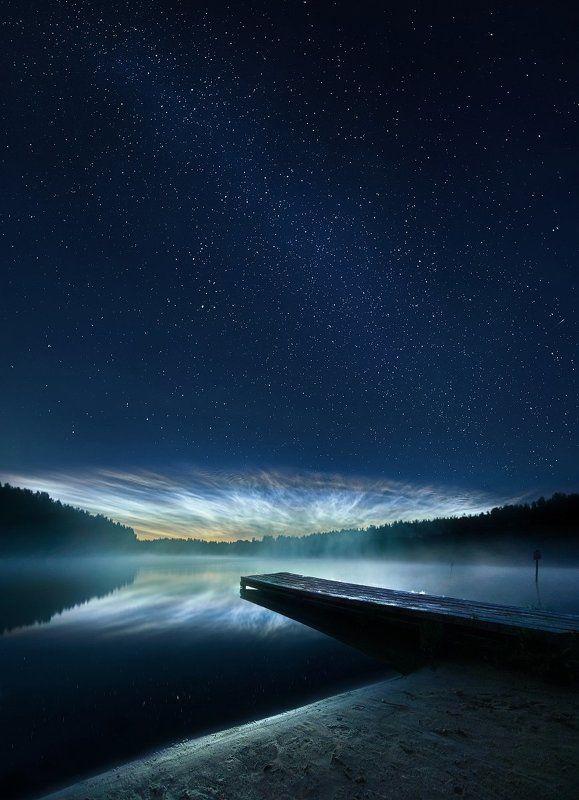 Серебристые облака, ночь, звезды, Ленинградская область. Серебристые облака.photo preview