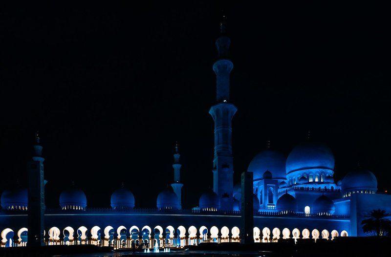 abudhabi, architecture, color, dubai, landscape, light, night, nikon, photo Ночная мечеть шейха Зайда в Абу Дабиphoto preview