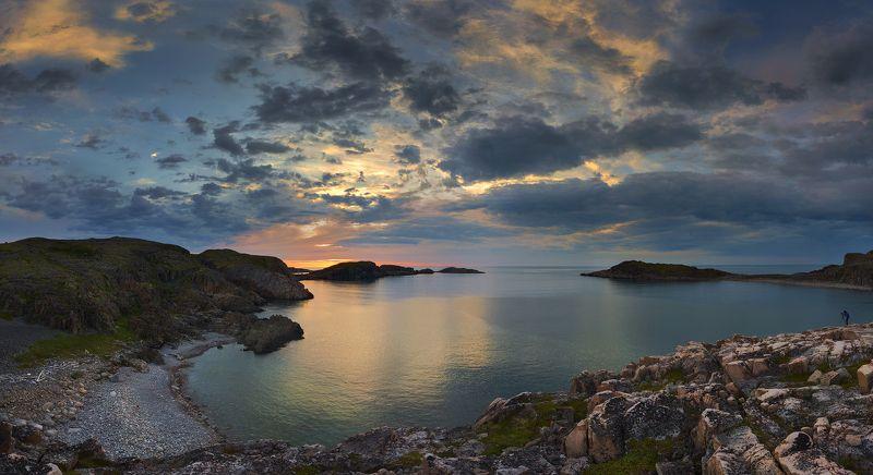 Кольский ролуостров, Дальние зеленцы, Баренцево море, закат To embrace the immensephoto preview