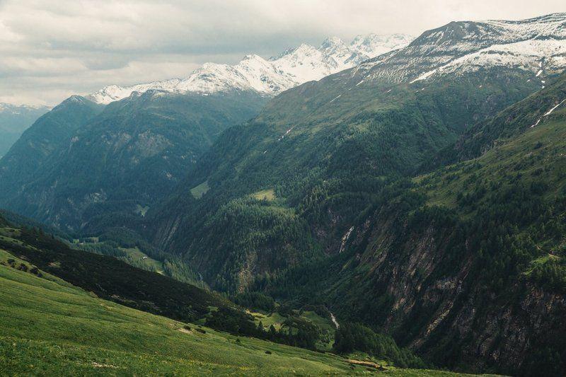 Альпы, Водопад, Горы, Лес, Облака Альпийские мотивыphoto preview