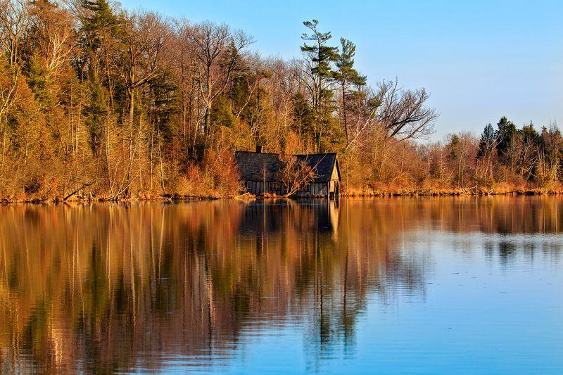 autumn, boathouse, lake, sunset, wood, reflection,закат,, лес,, лодочная станция,, озеро,осень, отражение Boat housephoto preview