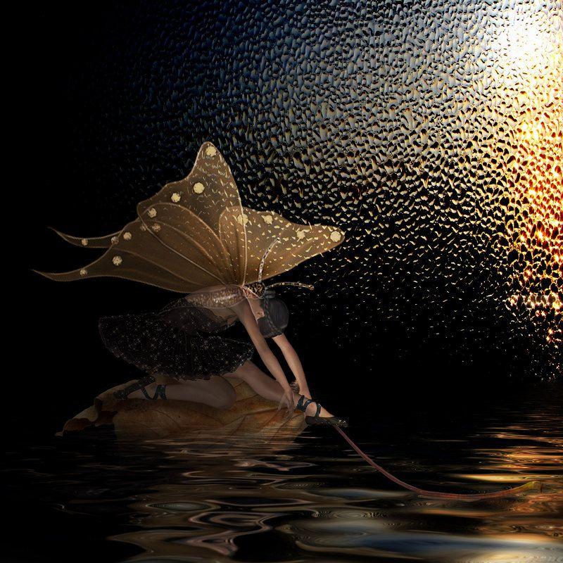 бабочка, вода, девушка, лист,осень ****photo preview