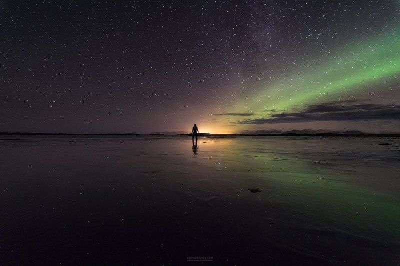 iceland, landscape, travel, person, silhouette, northern lights, aurora, night, stars, reflection We All Meet Somewherephoto preview