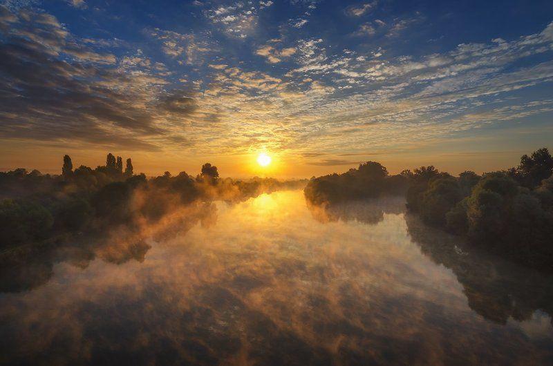 Вода, Краснодарский край, Облака, Протока, Рассвет, Река, Туман На рассветеphoto preview