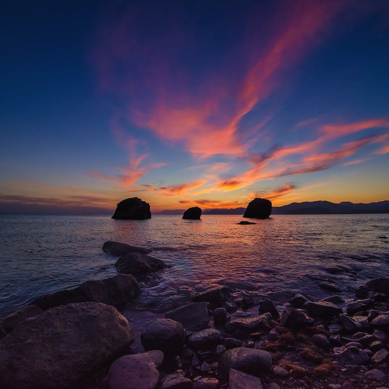 Закат, Камни, Крым, Море, Небо, Судак, Черное море Последний всполохphoto preview
