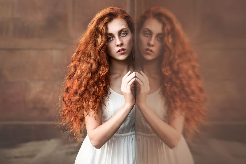 Look, Mirror, Orange, Portrait, Redhead, Взгляд, Отражение, Портрет, Рыжая Red in reflectionphoto preview