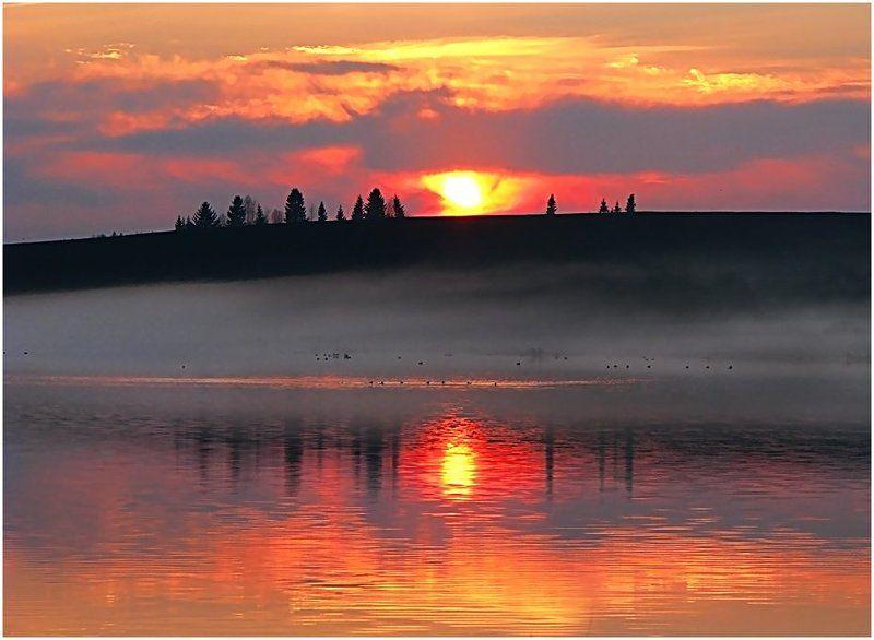 пейзаж,закат,небо,пруд,удмуртия,солнце Про майский закат и туманphoto preview