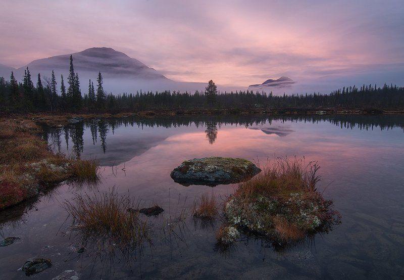 Озеро, Рассввет, Хибины Рассветная нежностьphoto preview