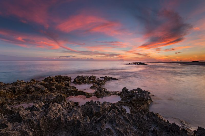 sunset, ocean, rocks,waves, sky, clouds Sunset extravaganzaphoto preview