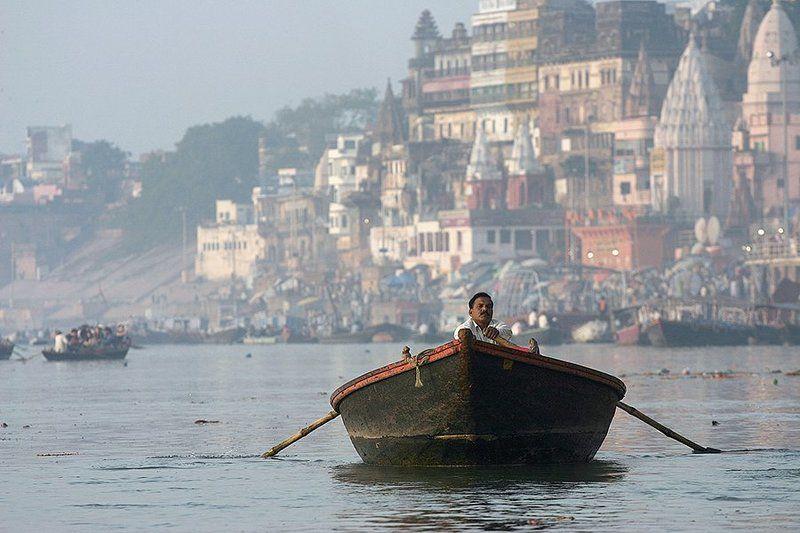 boat, man, varanasi, india, people, ganga, ganges, ganges river, ghats, oren s Varanasiphoto preview