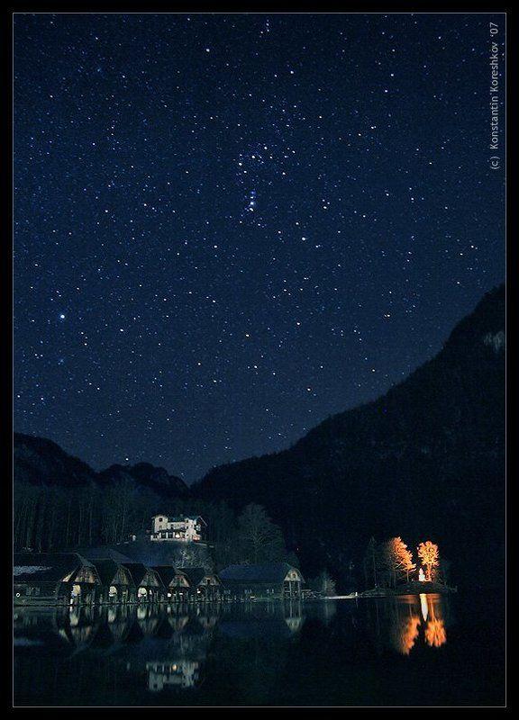германия, бавария, берхтесгаден, кенигсзее, альпы, звездное, небо, звезды, звездная, ночь, горы, озеро, австрия, schonau, am, konigssee, berchtesgadener, королевское, озеро, церковь, св., варфоломея, stars Звездная ночь на Королевском озереphoto preview