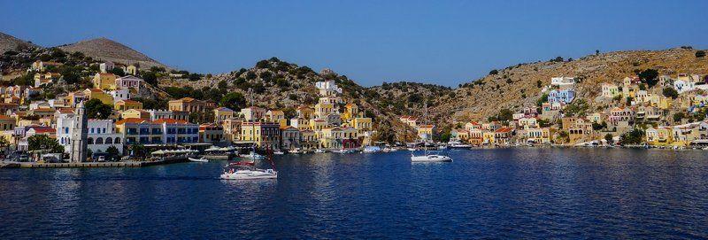 бухта,яхты,домики,море,лето,горы маленькое сокровище Эгейского моря - Симиphoto preview