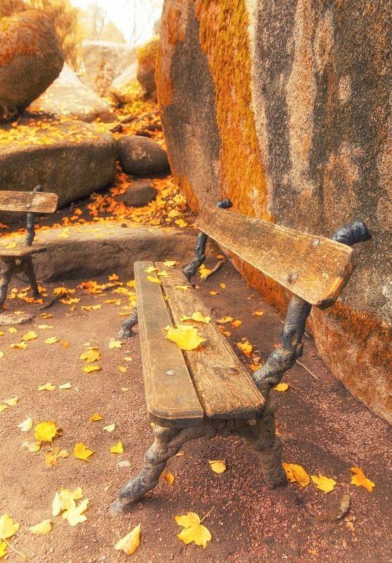 Скамья, осень, листья, камень, холод, слолнечно Ожидание...photo preview