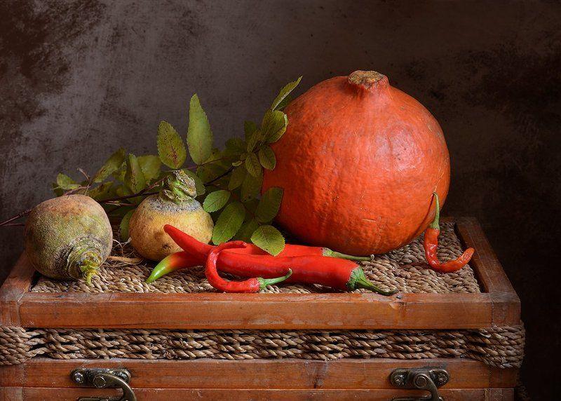 календарь, ноябрь, натюрморт Про старую репку, тыкву и перецphoto preview