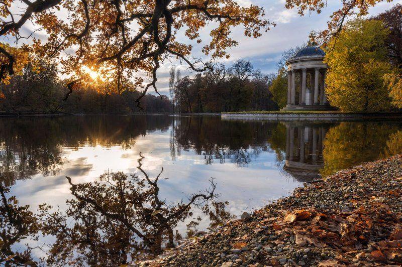 осень, пейзаж, германия, мюнхен, autumn, reflection, autumn colors, leaves miror, sunset photo preview