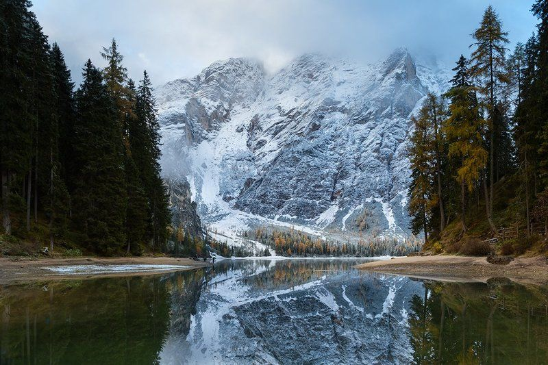 alps, dolomites, south tyrol, lago di braies, pragser wildsee, italy, europe Autumn winterphoto preview