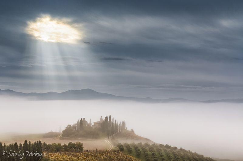 пейзаж, путешествия, тоскана, италия, sunrise,landscape villa Belvedere. Toscana. photo preview
