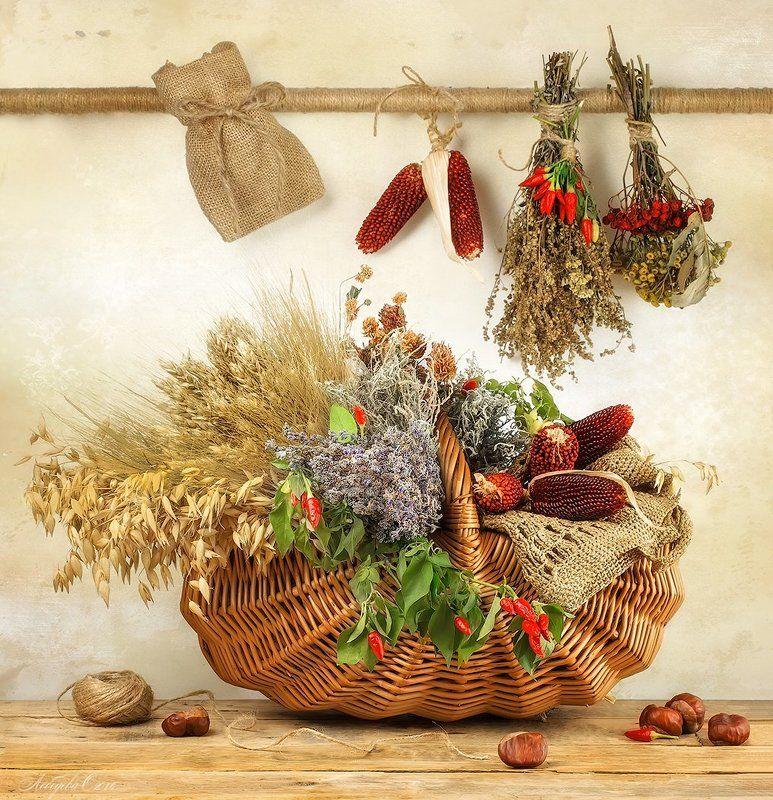 корзина ,травы,лаванда,полынь,овёс,кукуруза Ароматы сухих травphoto preview
