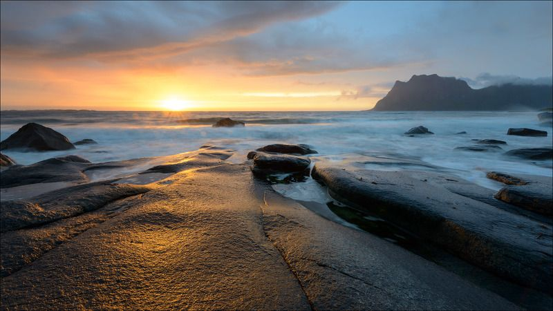 норвегия, лофотены, фьорды, закат, море, побережье, свет на камнях, пляж, uttakleiv ***photo preview