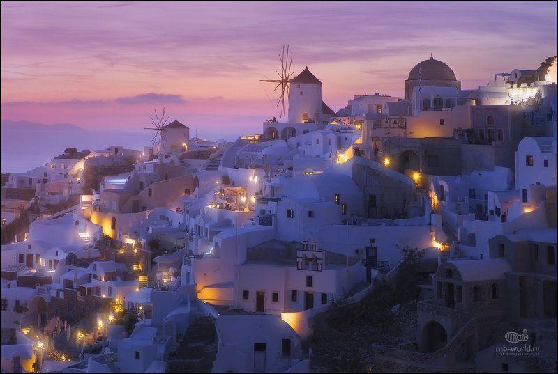 Греция, Санторини, закат,  Вечерние огни Санторини...photo preview