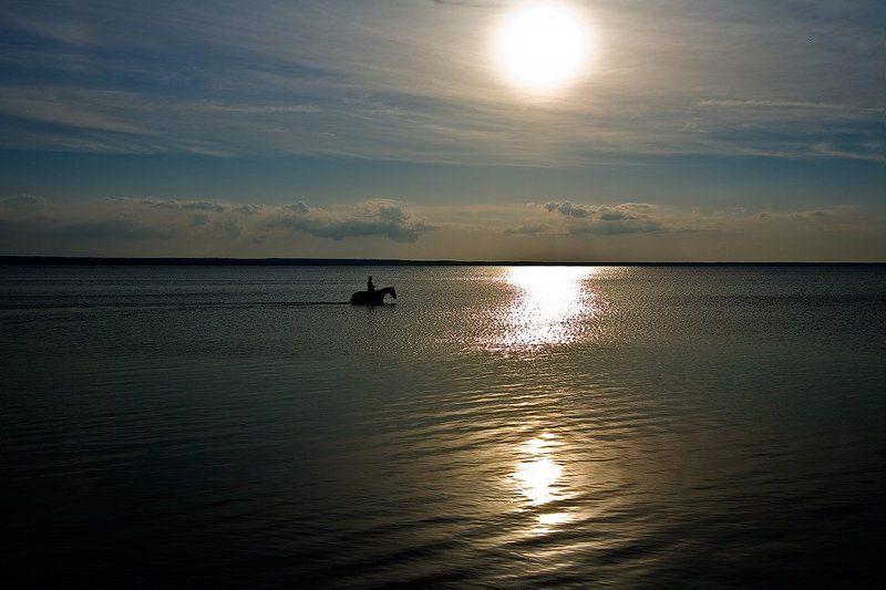озеро, конь, закат Только мы с конём по полю идём...photo preview