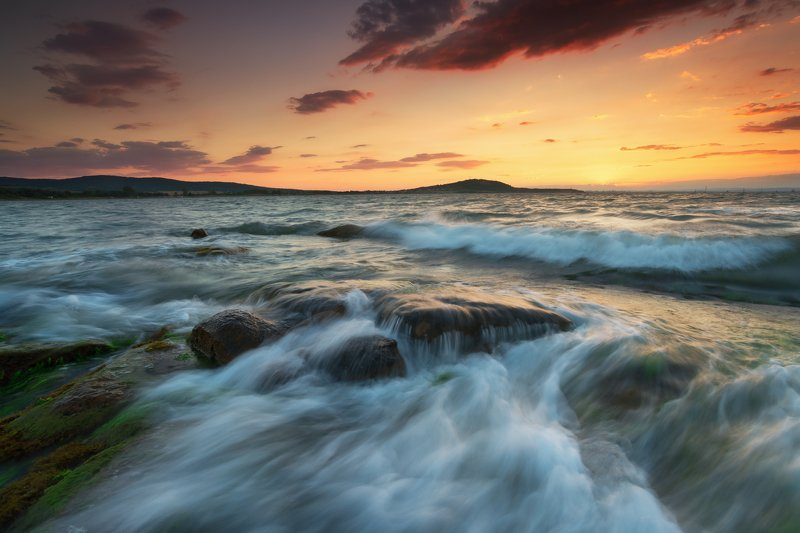 sun, sunset, sea, sky, water, reflection, shore, rocks, clouds, colors, travel, nature, golden hour, rocks, Летний закатphoto preview