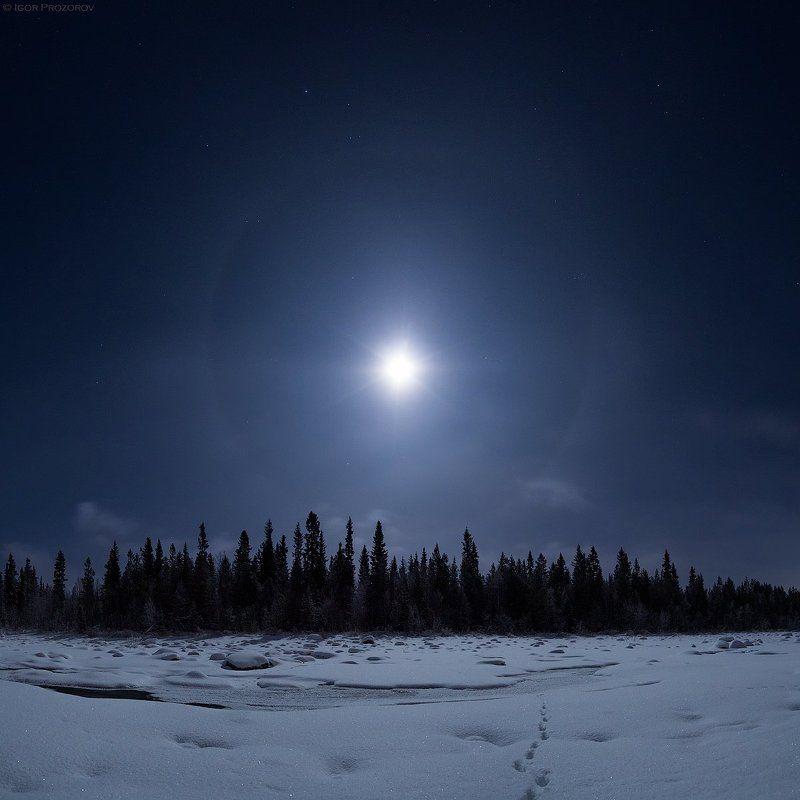 кольский полуостров, полнолуние, ночное фото Ночь на рекеphoto preview