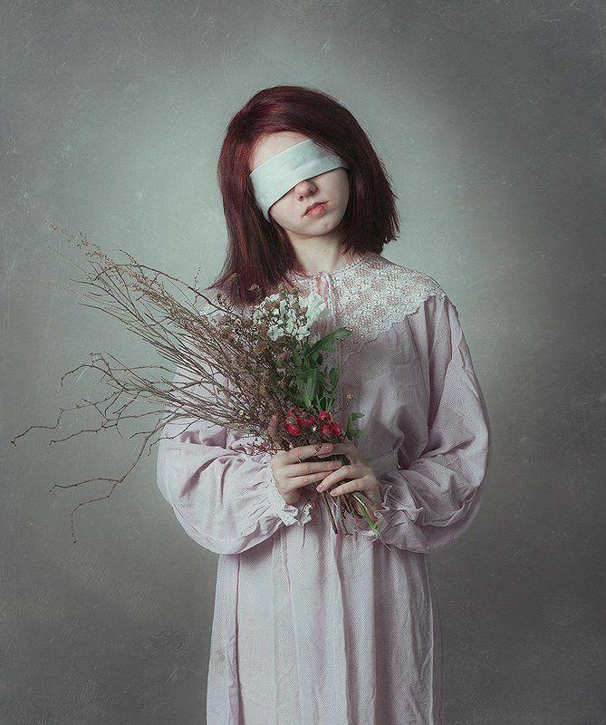 девушка, портрет, букет Невинностьphoto preview