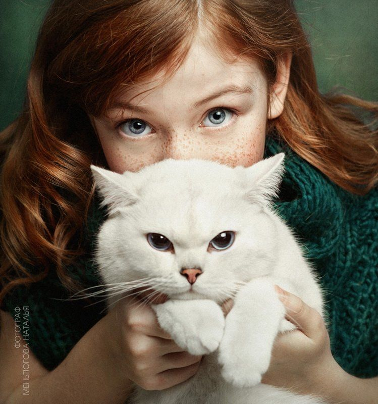 #cat #girl #readhead #pet Надя и Лукасphoto preview