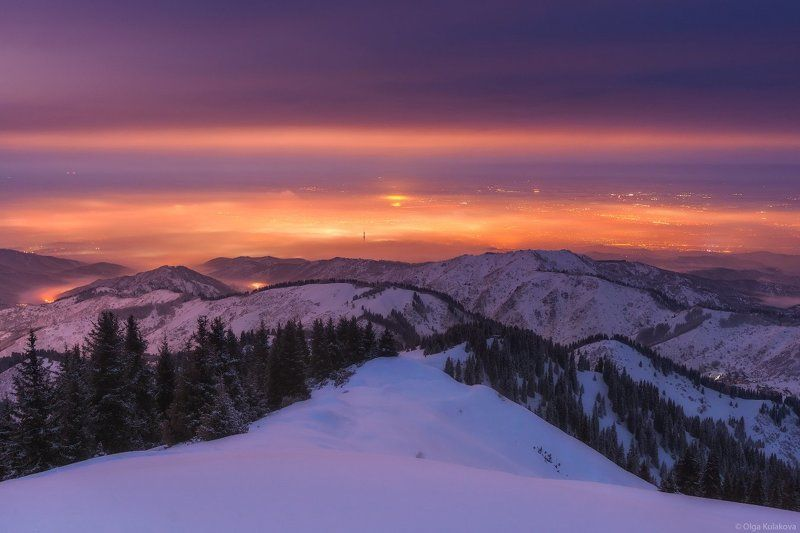 горы, зима, туман, алматы, ночь, кимасар Зимняя ночьphoto preview