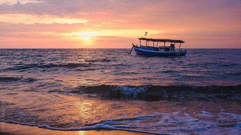 океан, закат, лодка *photo preview