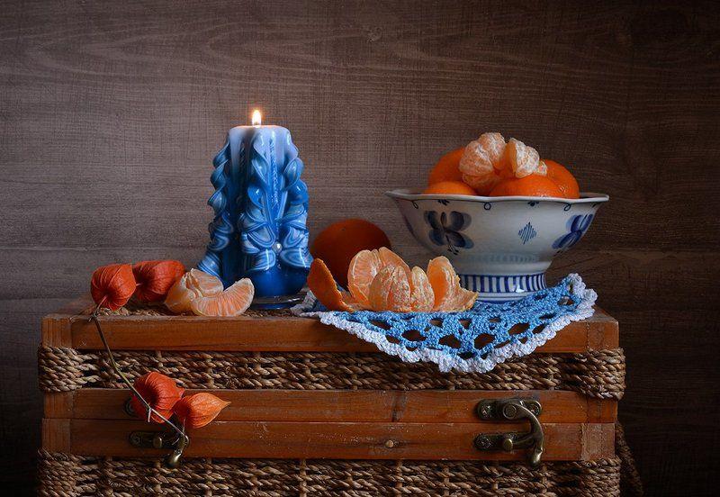 натюрморт, still life, календарь, декабрь Зимний. С мандаринами и свечойphoto preview