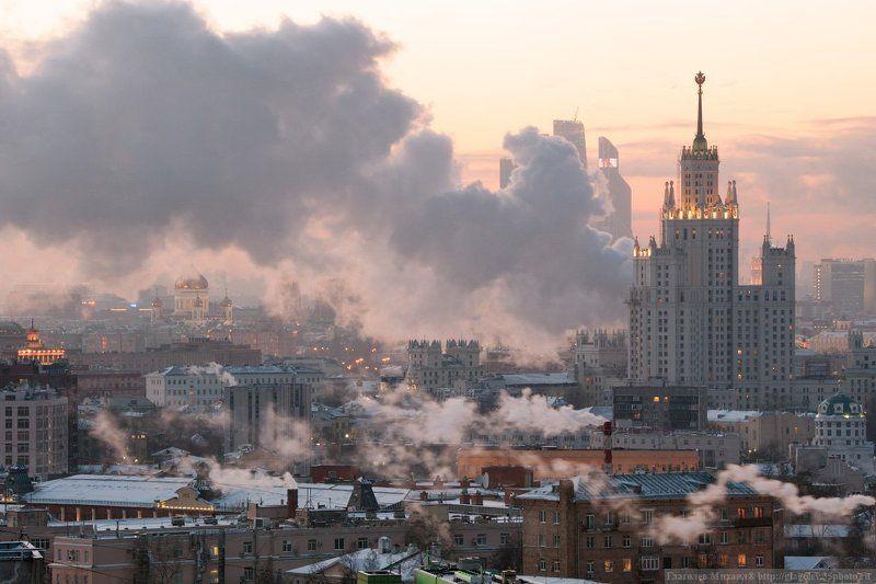 Морозный закат над Москвойphoto preview
