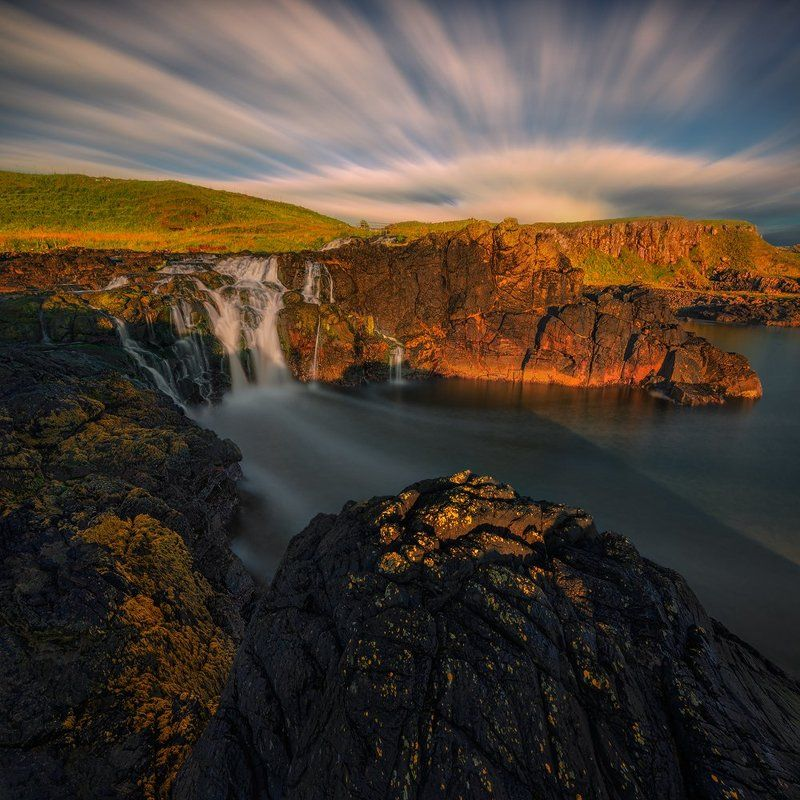 uk, northern ireland, waterfall, dunseverick, nikon, travel, long exposure, adventure, sunrise, light, fineart, photography, landscape, waterscape, nd, manfrotto, tripod, cliff, coastline, water, sky, clouds, Morning Light At Dunseverickphoto preview