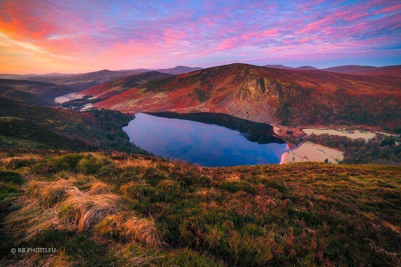 ireland, landscape, sunrise, sky, mountains, wicklow, lake, lough tay, nature, colors,  Lough Tay - Irelandphoto preview