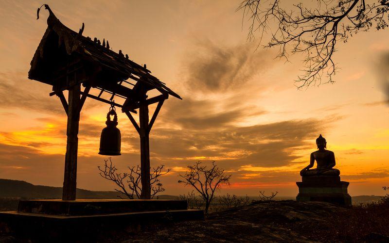 buddha, thai, thailand, sculpture, oriental, travel, precious, statue, wat, yellow, east, spiritual, traditional, asia, faith, figure, idol, heritage, face, sunset, tourism, golden, silhouette, phrabuddhachay, southeast, monk, cloud, sunrise, sitting, gl Buddha statue in sunsetphoto preview