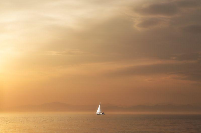залив, золотой рог, приморье, закат, парус парусphoto preview